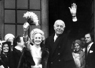 Near Stockholm, Sweden: Tuesday, 07 December 1976 at 12 Noon, Prince Bertil of Sweden was joined in matrimony with his sweetheart since 34 years, Mrs. Lilian Craig from England, who thus became Princess Lilian of Sweden. The couple met in London during the last war and the complicated rules of succession to the throne have but all too long delayed this marriage.