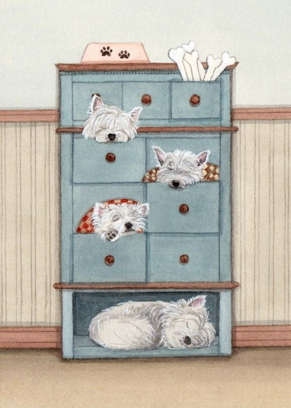 A dresser full of west highland terriers by watercolorqueen, $12.99