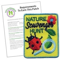 Nature Scavenger Hunt Fun Patch . This colorful Nature Scavenger Hunt fun patch is a great reminder of the fun your Girl Scouts had during your hike, camping trip or wherever you held your scavenger hunt.  Download our free suggested requirements for each Girl Scout level.  Available at MakingFriends.com .