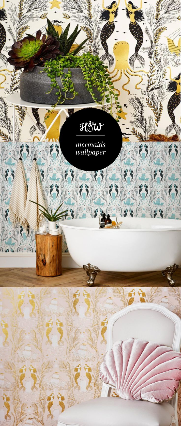 Mermaids Wallpaper from Hygge & West, available in 4 colorways