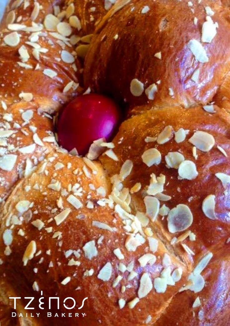Traditional Easter Bread, made with sheep butter, fresh milk, eggs, flavored with mastic extracts, mahlab and orange zest