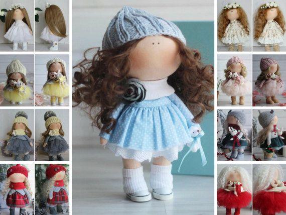 Bambole Baby doll Tilda doll Handmade doll Textile doll Fabric doll Cloth doll Rag doll Interior doll Nursery doll Blue doll by Oksana Z