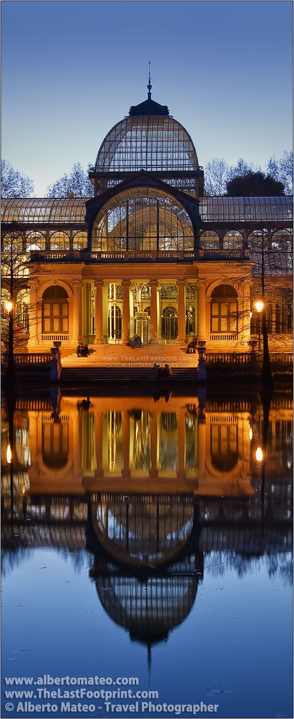Palacio de Cristal at dusk, Jardines del Buen Retiro (Retiro Park), Madrid, Spain. | Cityscape by Alberto Mateo, Travel Photographer.