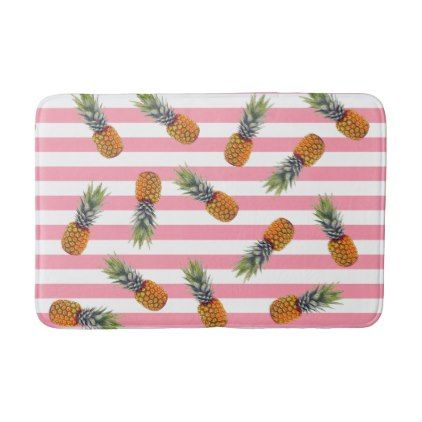 Girly Summer Pineapple Pattern | Pink Striped Bathroom Mat - girly gifts girls gift ideas unique special