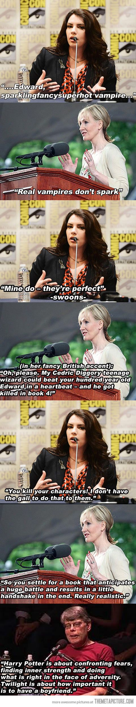 Stephanie Meyer vs. J.K. Rowling…Correct on so many levels. love the Stephen King comment at the end!