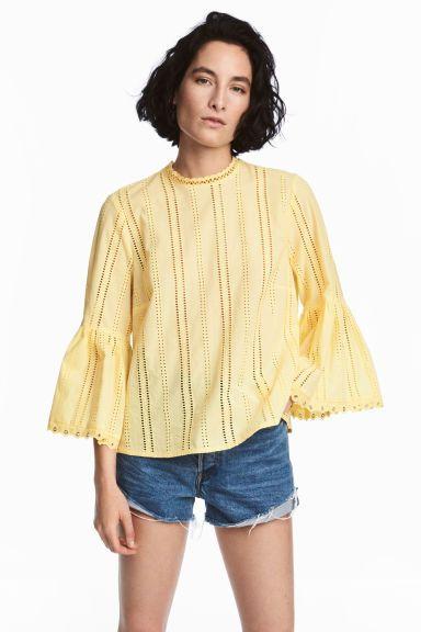 L2017 Bawełniana bluzka - Jasnożółty - ONA   H&M PL 1