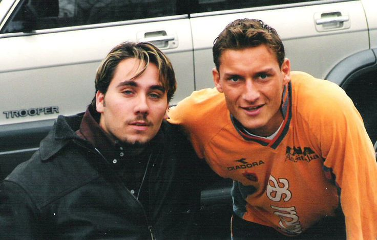 Photo of Francesco Totti & his friend football player  Fabrizio Bartoccioni - Itali