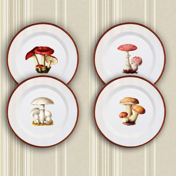 """Home decor 4 plates set """"Mushrooms"""" - wall decor, vintage, art, recycled paper, acrylic paint, lacquer, ceramic"""