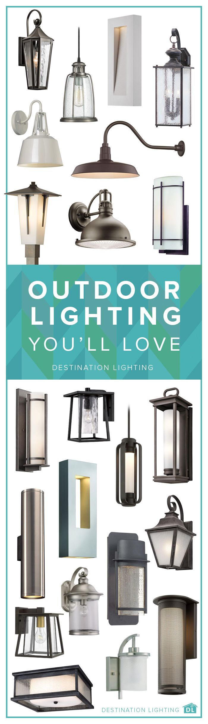 Take your curb appeal to the next level with some beautiful new outdoor lighting. From walls to ceilings to post lights, we've got everything you can dream up right here at Destination Lighting.