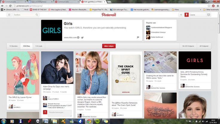 """Ook series proberen via Pinterest te communiceren met hun fans. """"Girls"""" is een productie van het bekende Amerikaanse televisiezender HBO. Via Pinterest promoten ze de acteurs van de serie, de serie zelf en ook de merchandising die er rond plaatsvindt."""