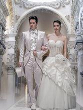 Nach maß weiß bestickte Bräutigam Hochzeit Smoking Für Männer Morgen Anzüge Beste Mann stehen kragen Hochzeit Anzüge Dünne Befestigung(China (Mainland))