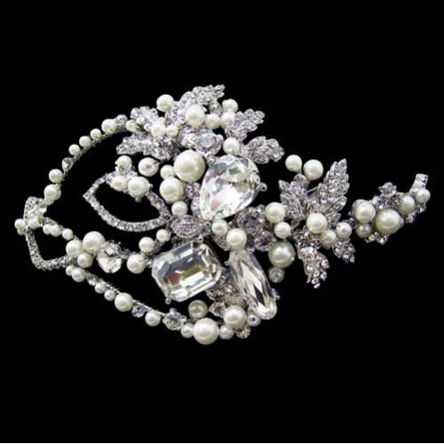 Vintage inspired swarovski crystal and pearl headpiece.