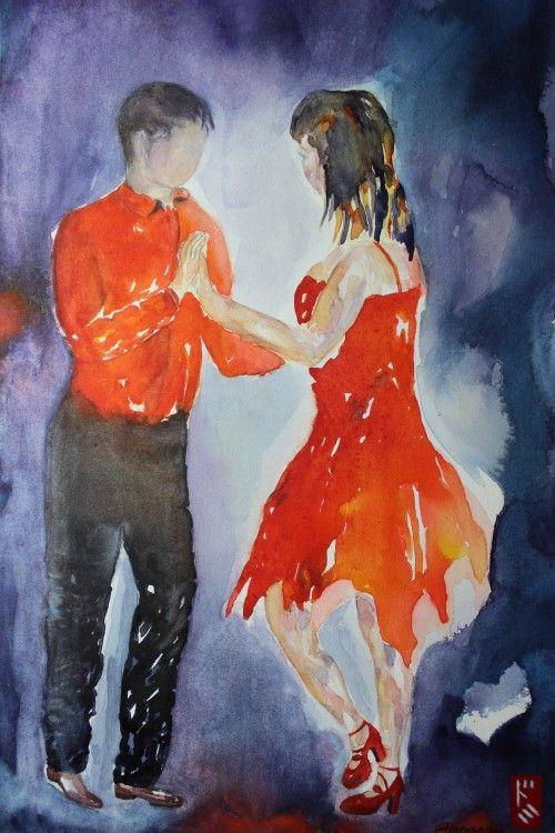 """Salsita (Painting),  29x35 cm par Dominique HERNANDEZ """"Salsita""""  les aficionados de salsa, danse cubaine si envoûtante, se reconnaitront Oeuvre réalisée sur papier Fabriano grain fin"""