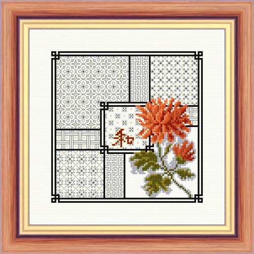 Chrysanthemums and Blackwork - Aida Kit