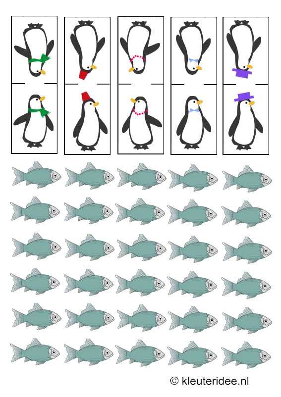 Pinguïnpionnen en visjes voor spel, thema Noordpool & Zuidpool, kleuteridee.nl, Gameboard Arctic theme preschool , free printable.