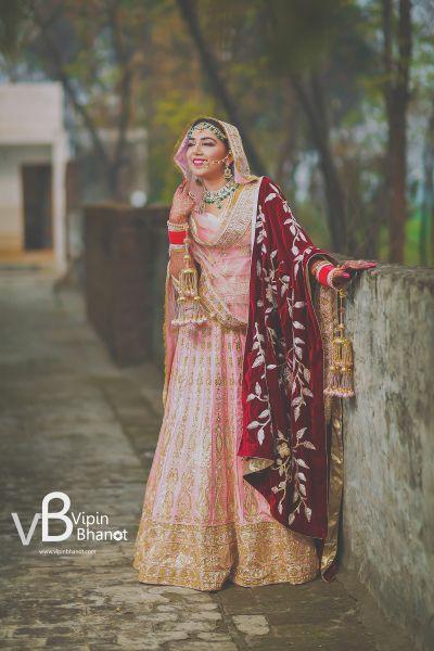 Bridal Lehenga - Bride in a Pink and Gold Lehenga with a Velvet Marsala Safa   WedMeGood   Photo by: Vipi #gold #weddina