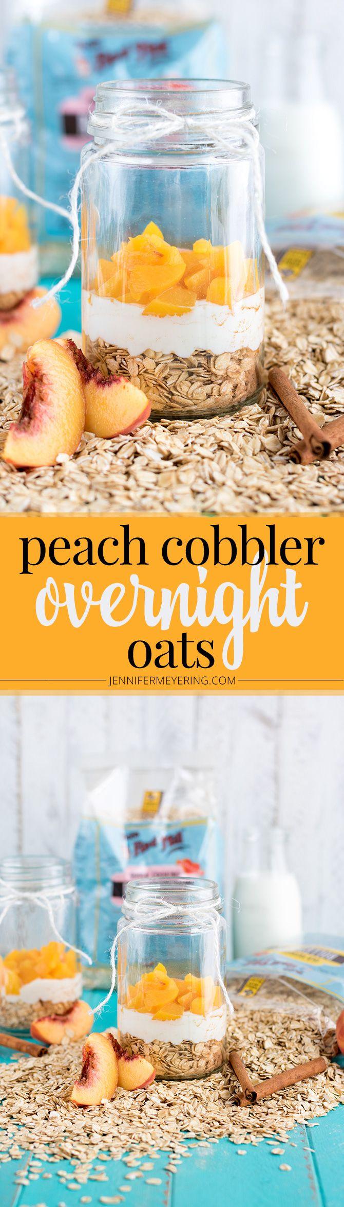 Peach Cobbler Overnight Oats - JenniferMeyering.com @bobsredmill #BRMOats #ad