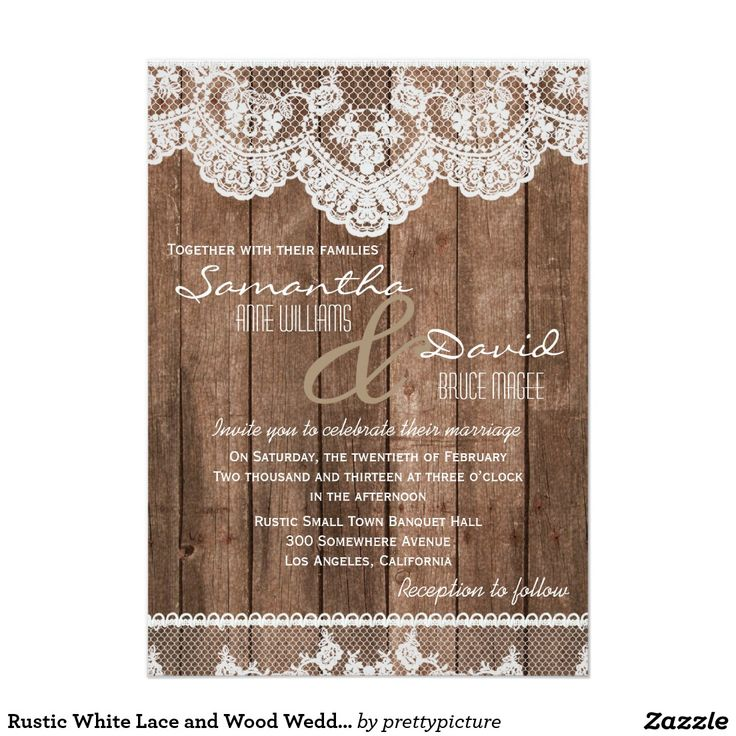 wedding card invitation cards online%0A Rustic White Lace and Wood Wedding Invitation