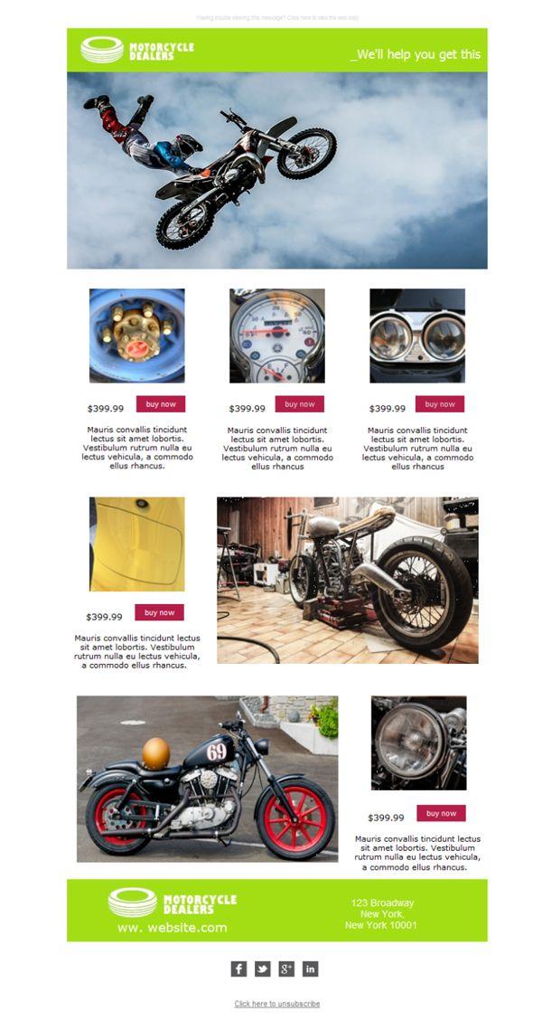 ¡Motoristas! Ha llegado el momento de salir a la carretera con los mejores productos de tu concesionario de motos favorito. En estas plantillas newsletter verás las imágenes más trepidantes de tu pasión de dos ruedas.