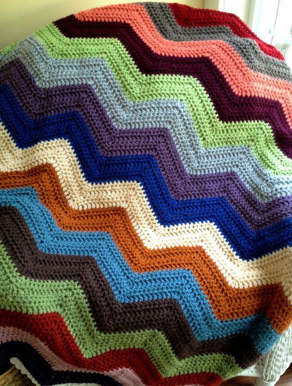 chevron ziguezague sofá ondulação jogar afegão cobertor envoltório crochet malha cadeira de rodas listras Vanna White fio artesanal nos EUA