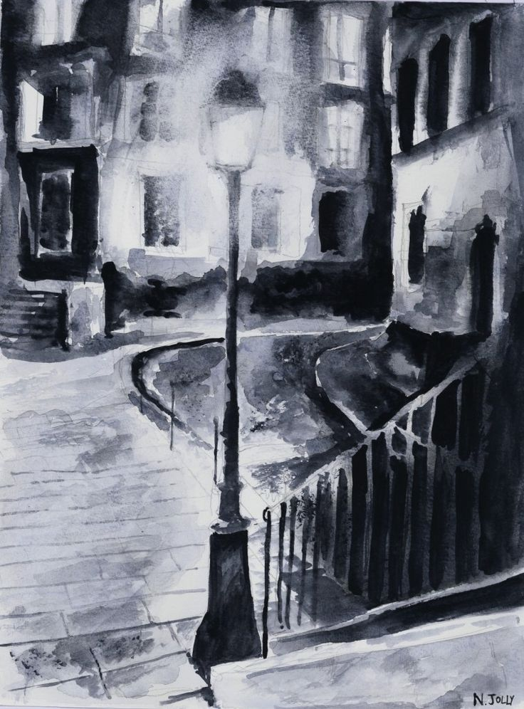 Le lampadaire. Black ink drawing. By Nicolas Jolly. #drawing #watercolor #painting #art