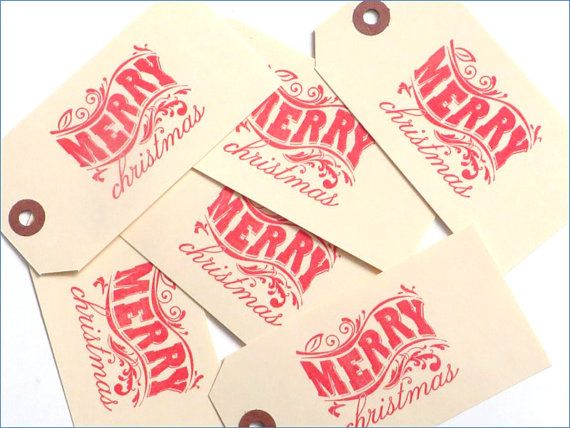 Merry Christmas tags Hand Stamped Christmas gift by MouseGarden