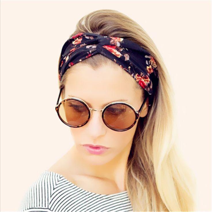 Fashion Wanita Lebar Sorban Ikat Kepala Warna-warni Bunga Lintas Elastis Headbands untuk Wanita HG144