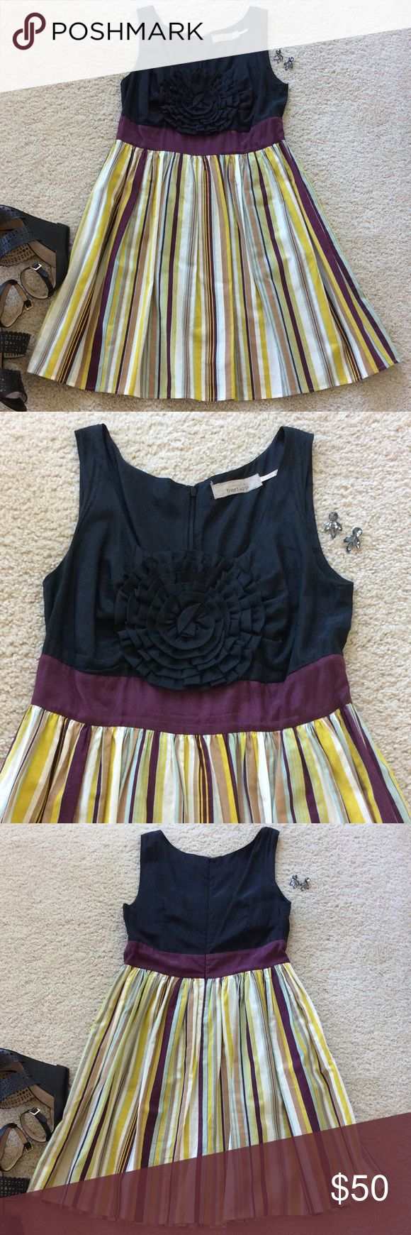"""{Anthropologie} Bold Boutonnière dress {Anthropologie} Bold Boutonnière dress by Burlapp. An oversized silk cotton carnation fastened atop a menswear skirt of striped oxford cloth. Hidden side pockets. Back zip. Lined. Laying flat approx 35"""" long, approx 16"""" pit to pit. 55 silk 45 cotton. Size M. Excellent condition. #358 Anthropologie Dresses"""