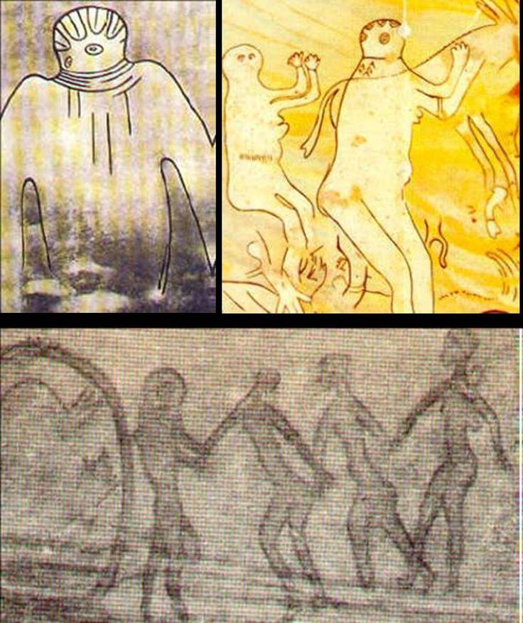 """Arte e """"Eles""""Rock Art de Tassili, Sahara, com mais de 15 mil anos:"""