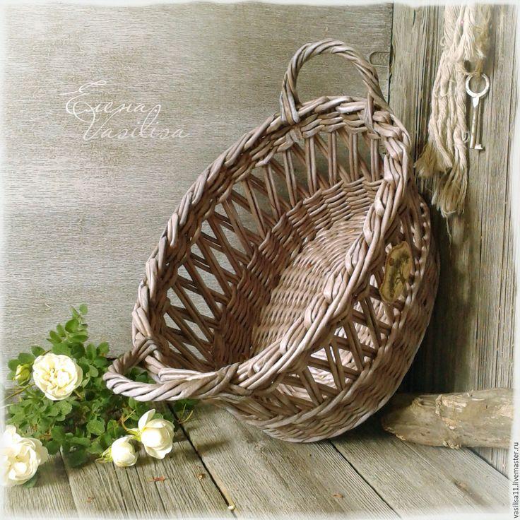 Купить Корзиночка Летняя ажурная - серый, корзиночка старинная, старая, плетеная, для цветов, для хлеба, для кухни