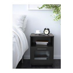 IKEA - BRIMNES, Nightstand, black, , In the drawer there is room for an power strip for your chargers.You can run the plug to the outlet through the back.