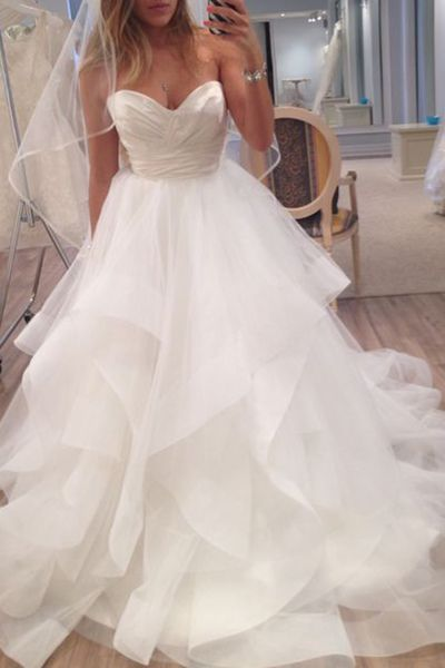 New Arrival Sleeveless Tulle Wedding Dress,Ruffles Bridal Dress