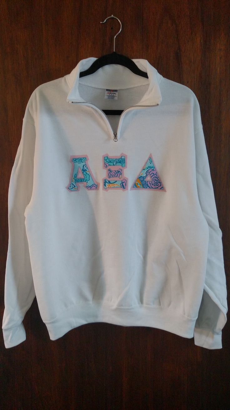 alpha xi delta white quarter zip with alpha xi delta lilly pulitzer sorority print