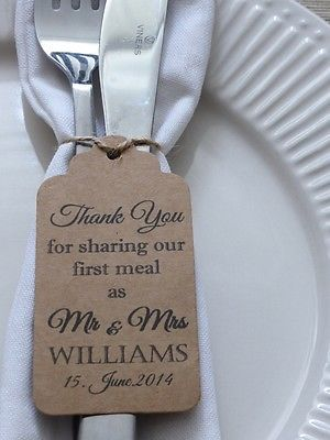 "Personalised Wedding Favour Gift Tag ""Thank you"" Guest Label Kraft/ Napkin Ring 