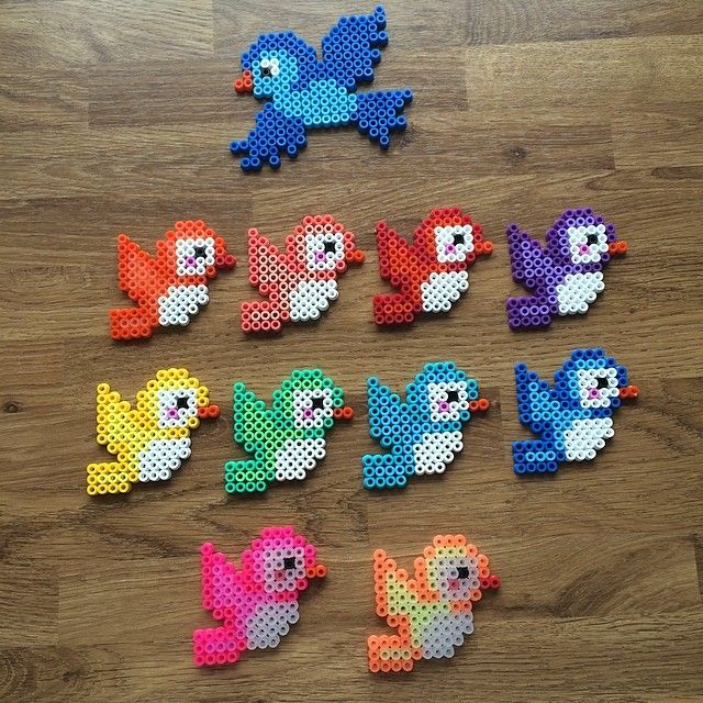Rainbow birds hama beads by mediegiraf