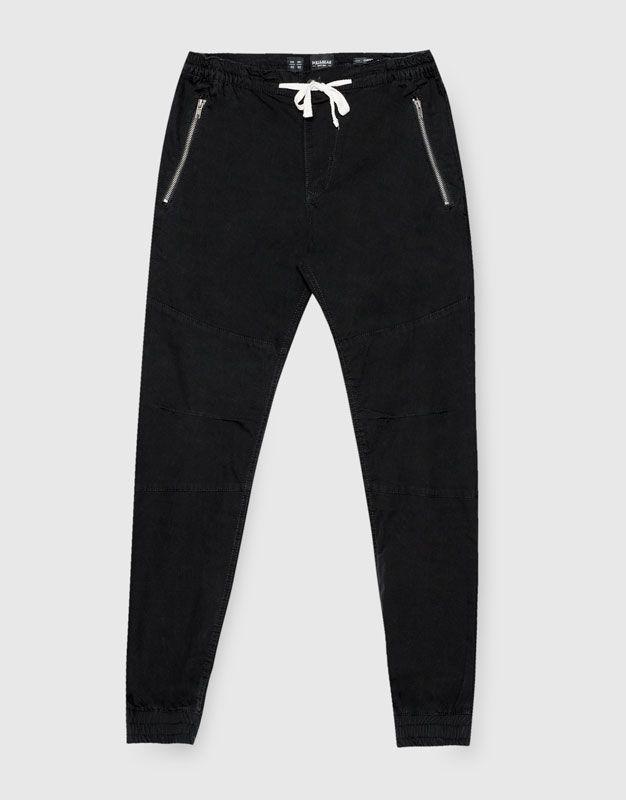 Pull&Bear - homem - vestuário - calças - calças beach fechos de correr - preto - 09683530-I2016