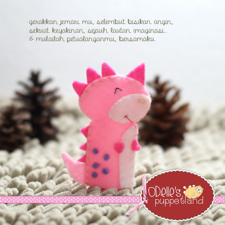 CHELSEA THE DINOSOUR is one of the 50 cute characters in odelle's puppetland. Each character here, is available for the finger puppet, pencil puppet  mini puppet. Get them for only rp7.000/each. Contact me: http://odellespuppetland.blogspot.com sms/wa : 0896 420 97 266 ping me! 7448EE1E  #fingerpuppet # puppet #odellespuppetland #handmade #craft  #felt  #bonekajari #dinosour #baby #kids #edutoys