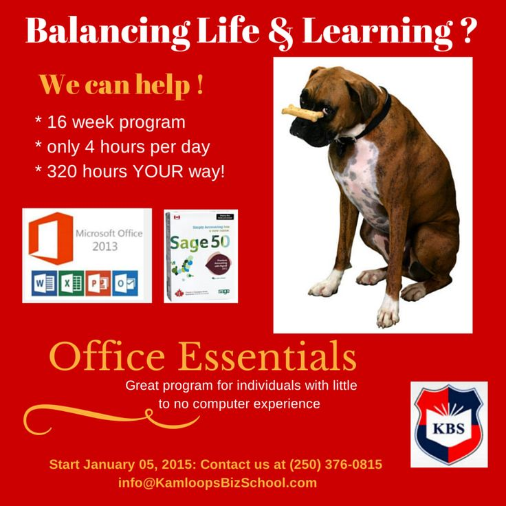 #OfficeEssentials At work for YEARS with no certification? This is THE Program 4 U? This is business basics #course you can complete PART-TIME in 16 weeks (4 hours per day). Seating limited. Check out the complete Outline on our website.   #Kamloops #MicrosoftOffice2013 #SimplyAccounting #education #classes #training #career
