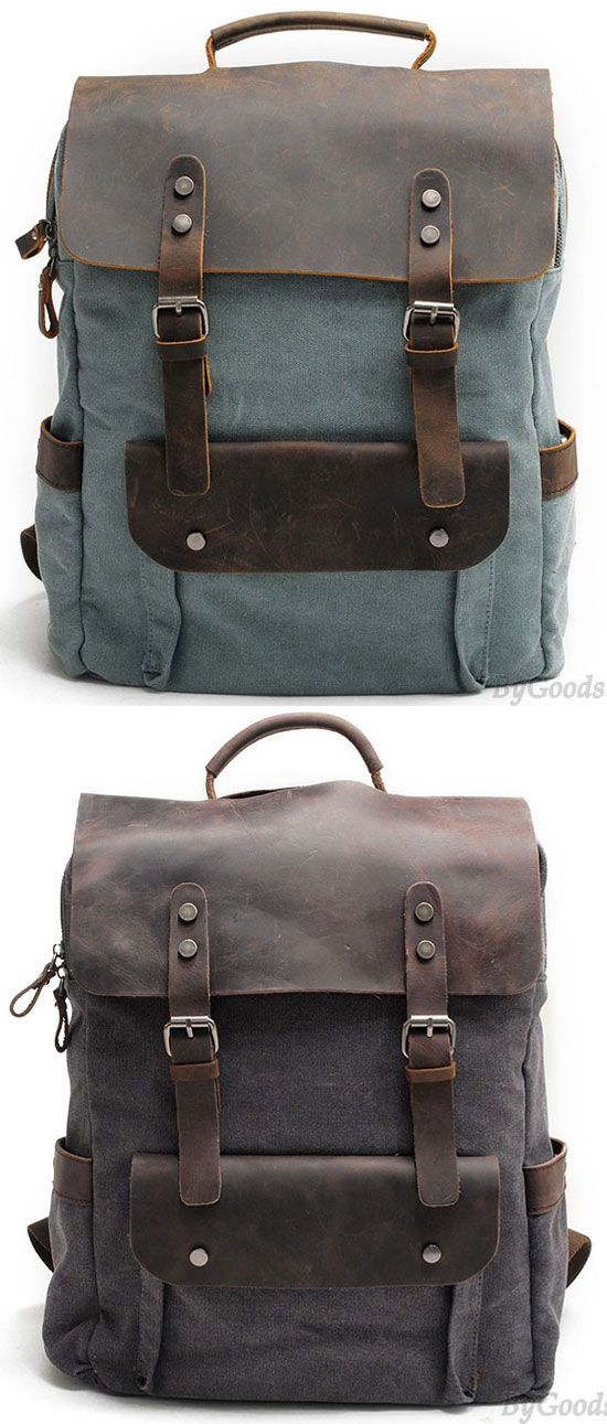 Retro Large Thick Canvas Travel Bag Splicing Leather Laptop Camping Backpack for big sale! #large #laptop #backpack #Bag #school #college #student #girl #canvas #travel