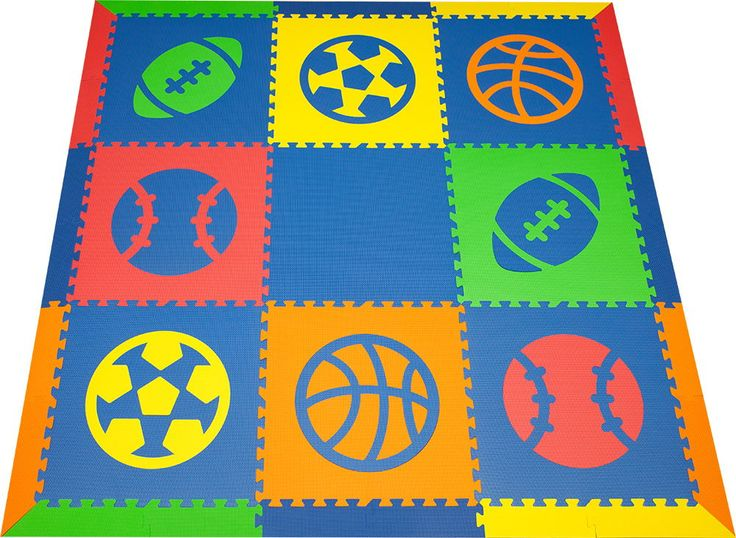 New! Play ball! SoftTiles Sports Theme Play Mats in Blue, Red, Yellow, Orange, and Lime is a fun colorful set for any active toddler's playroom! #playroom #playroomdecor #nursery #playmat #kidsroom