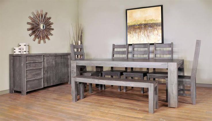 Revel in the rustic beauty of our Ruff Sawn Seqouia Dining Set.