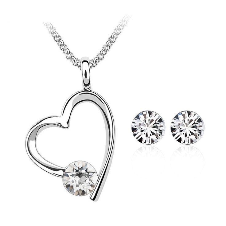Crystal Heart Necklace & Earring Set with Swarovski Elements // Price: $13.95 & FREE Shipping //  We accept PayPal and Credit Cards.    #artist