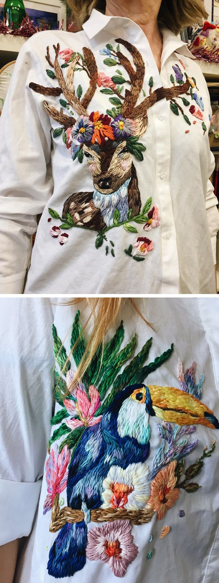 Custom embroidered clothing by Lisa Smirova