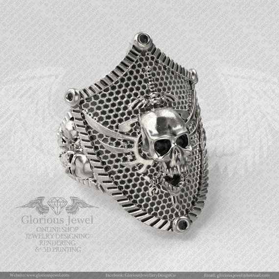 Glorious Skull Biker on shield OOAK Ring / 925 Sterling Silver