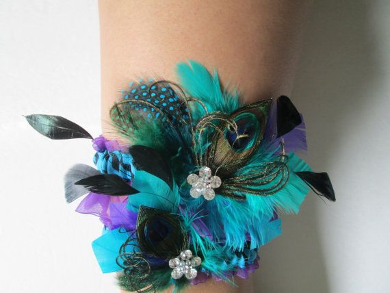 You have to admit, you can actually fall in love with this #Wedding #Garter set. Your Husband-to-Be will also be proud to auction one off ;)    Wedding Garter Set Turquoise Zebra Garters by NakedOrchidGarters, $72.00