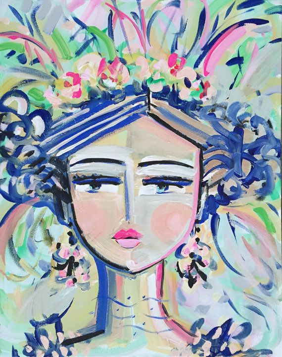 Abstract Portrait Painting orig. canvas 16x20 by Marendevineart