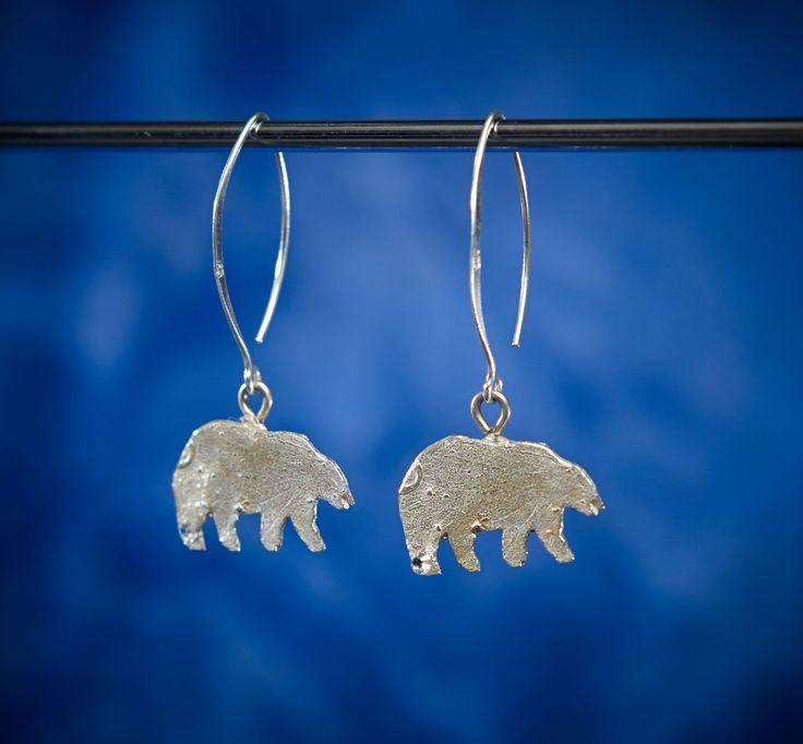 Tundra Creatures Long Polar Bear Earrings, By Arctic Ice Jewels.  Help save a polar bear and look good doing it.