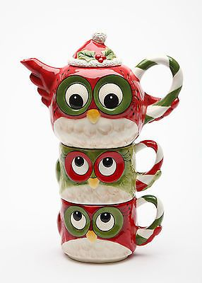 Christmas Owl tea for two stacking teaset (teapot and two mugs) ... red, white and green feathered owl decoration w/ candy cane handle, pointed Santa Claus toque hat as llid
