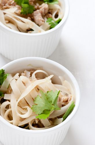 Honey and soy rice noodles with chicken and lime