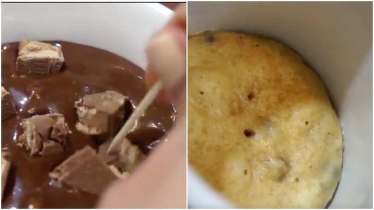 Come preparare una golosissima torta in tazza in soli cinque minuti: un'idea semplice, golosa e velocissima. Gli ingredienti richiesti sono: zucchero, farina, cacao amaro in polvere, aceto, latte, pezzetti di cioccolato, un uovo, una barretta di cioccolato (tipo sneakers), burro ed estratto di vaniglia. Lavorate gli ingredienti come mostrato in video, e dopo 5 minuti la vostra torta in tazza sarà pronta per essere gustata!